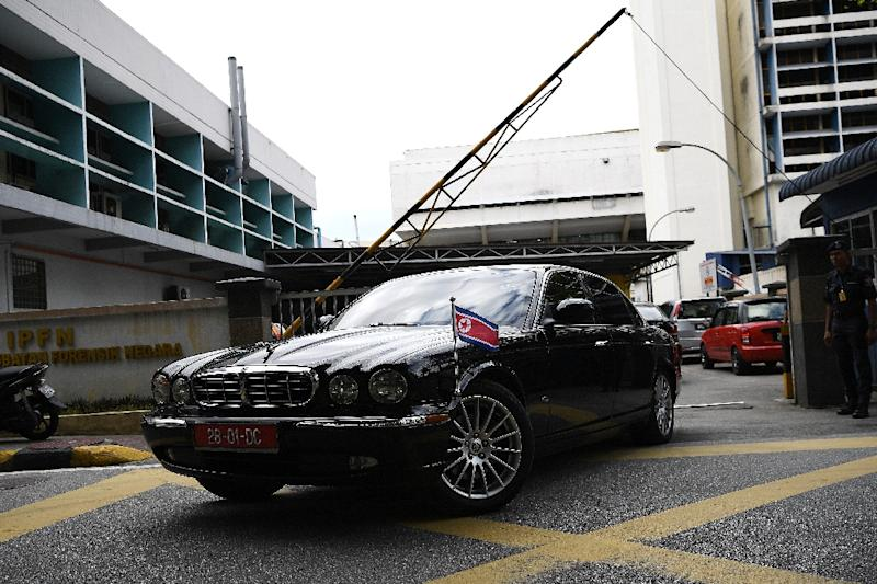 A North Korean embassy car leaves the forensic wing at the Hospital Kuala Lumpur in Kuala Lumpur on February 15, 2017, where the body suspected to be that of Kim Jong-Nam, half-brother of North Korean leader Kim Jong-Un, is bieng kept (AFP Photo/Manan VATSYAYANA)