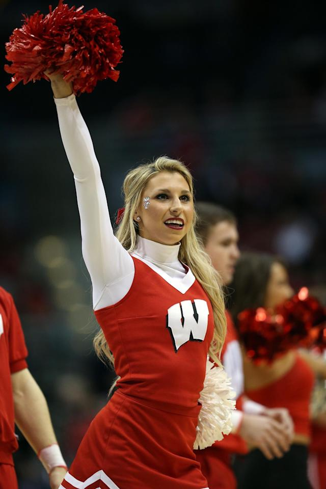 MILWAUKEE, WI - MARCH 20: A Wisconsin Badgers cheerleader performs during the second round game of NCAA Basketball Tournament against the American University Eagles at BMO Harris Bradley Center on March 20, 2014 in Milwaukee, Wisconsin. (Photo by Jonathan Daniel/Getty Images)