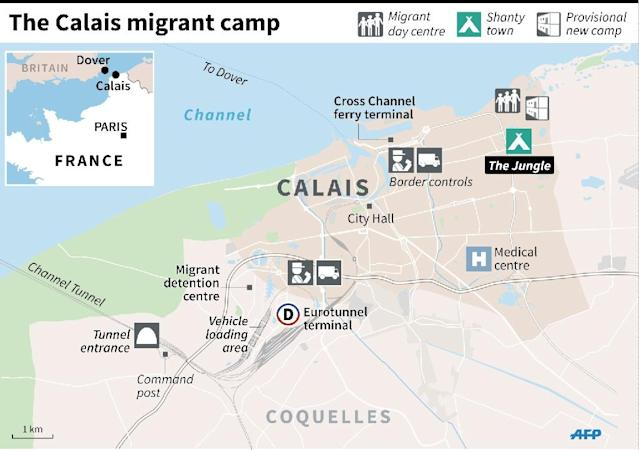 Map of Calais showing the migrant camps on the edge of the city and key locations, including the Channel Tunnel boarding point (AFP Photo/Laurence SAUBADU, Paul DEFOSSEUX)