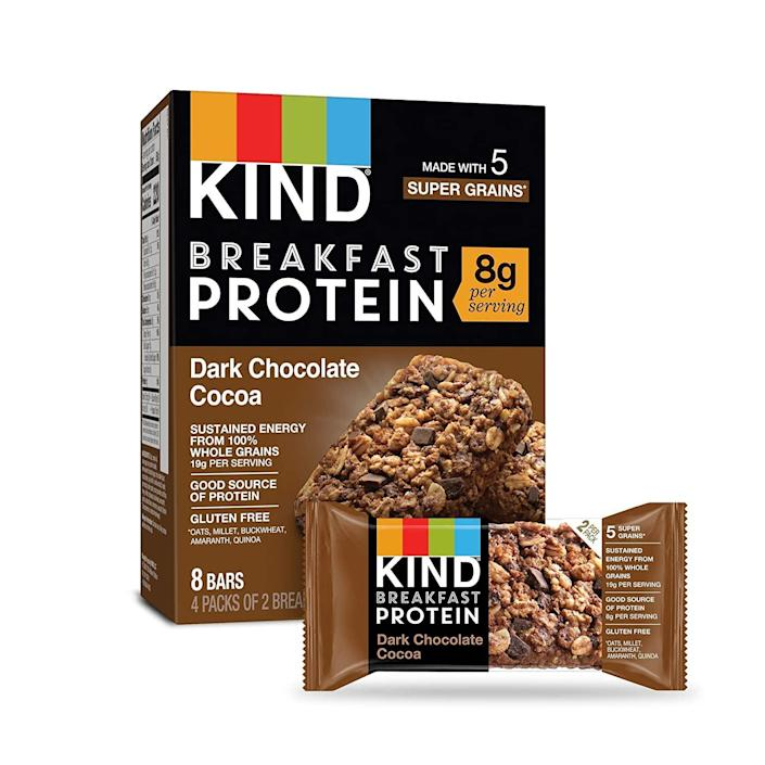 """<p>""""I'm all about adding protein to my meals in a delicious way to keep me energized and satisfied while I work from home, work out, and go about daily tasks. These <span>Kind Dark Chocolate Cocoa Breakfast Protein Bars</span> ($23 for 32 packs) have eight grams of protein per two-bar package and taste great. I eat them in the morning and as a snack after lunch. My mouth and belly are happy when I do!"""" - Sam Brodsky, assistant editor, Fitness</p>"""