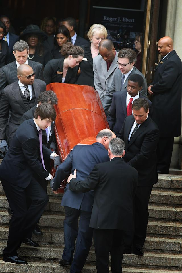 CHICAGO, IL - APRIL 08: Chaz Ebert follows as the remains of her husband, film critic Roger Ebert, are carried from Holy Name Cathedral following a funeral service April 8, 2013 in Chicago, Illinois. Ebert died April 4, at the age of 70, after a long battle with cancer. (Photo by Scott Olson/Getty Images)