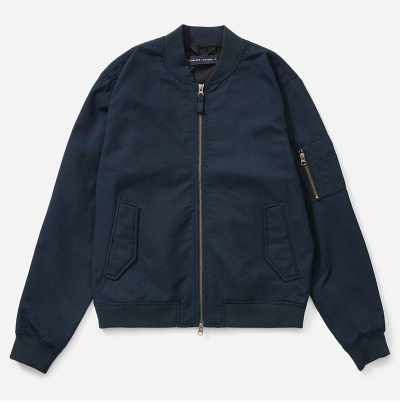 """<p><strong>Everlane</strong></p><p>everlane.com</p><p><strong>$88.00</strong></p><p><a href=""""https://go.redirectingat.com?id=74968X1596630&url=https%3A%2F%2Fwww.everlane.com%2Fproducts%2Fmens-uniform-bomber-jacket-navy&sref=https%3A%2F%2Fwww.esquire.com%2Fstyle%2Fnews%2Fg2932%2F10-best-bomber-jackets-for-fall%2F"""" rel=""""nofollow noopener"""" target=""""_blank"""" data-ylk=""""slk:Buy"""" class=""""link rapid-noclick-resp"""">Buy</a></p><p>Everlane is so damn confident in its Uniform collection that the retailer backs any product from the line with a 365-day guarantee. If your brand new bomber suddenly goes kaput they'll replace it with a new one out of the kindness of their hearts. <br></p>"""