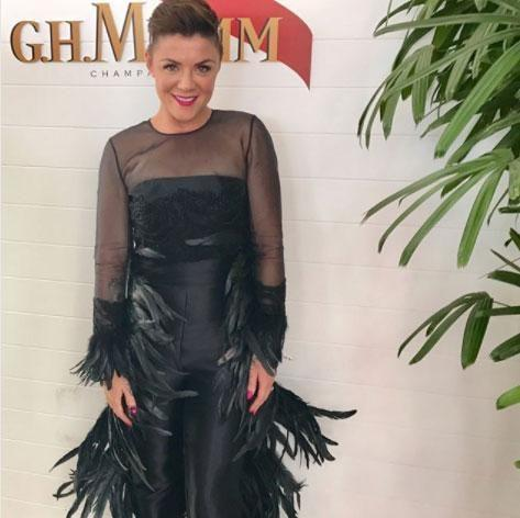 Almost six months after she revealed she'd suffered a devastating miscarriage, radio star Em Rusciano says she's still coming to terms with her loss - Em pictured at Derby Day on Saturday. Source: Instagram