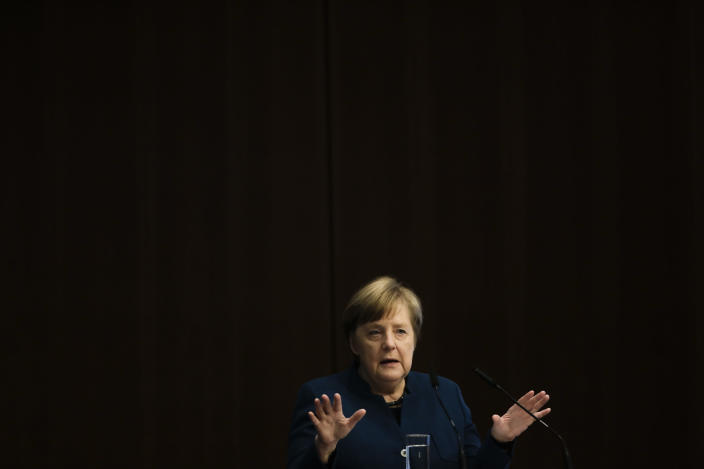 German Chancellor Angela Merkel delivers a speech during the German-Helenic Economic Forum event in Berlin, Germany, Monday, March 9, 2020 (AP Photo/Markus Schreiber)