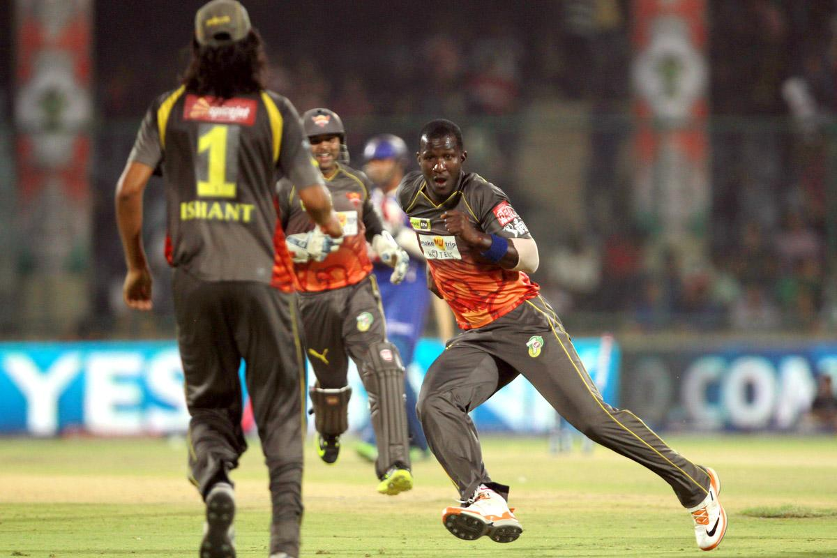 Darren Sammy celebrates the wicket of Stuart Binny during the Eliminator match of the 2013 Pepsi Indian Premier League between the Rajasthan Royals and the Sunrisers Hyderabad held at the Feroz Shah Kotla Stadium, Delhi on the 22nd May 2013. (BCCI)