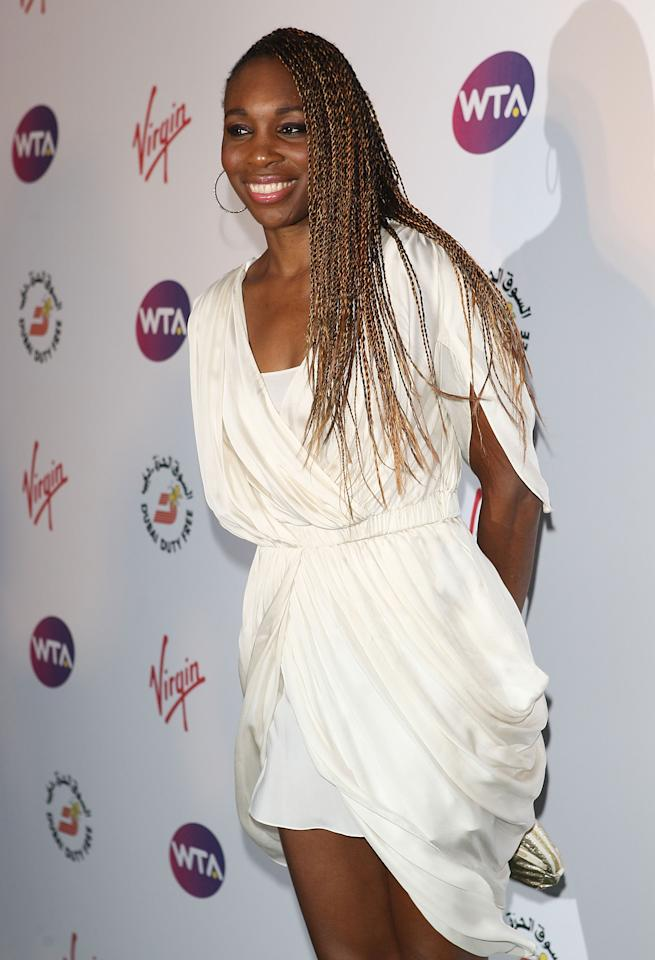 LONDON, ENGLAND - JUNE 21: Venus Williams arrives at the WTA Tour Pre-Wimbledon Party at The Roof Gardens, Kensington on June 21, 2012 in London, England. (Photo by Tom Dulat/Getty Images for WTA)