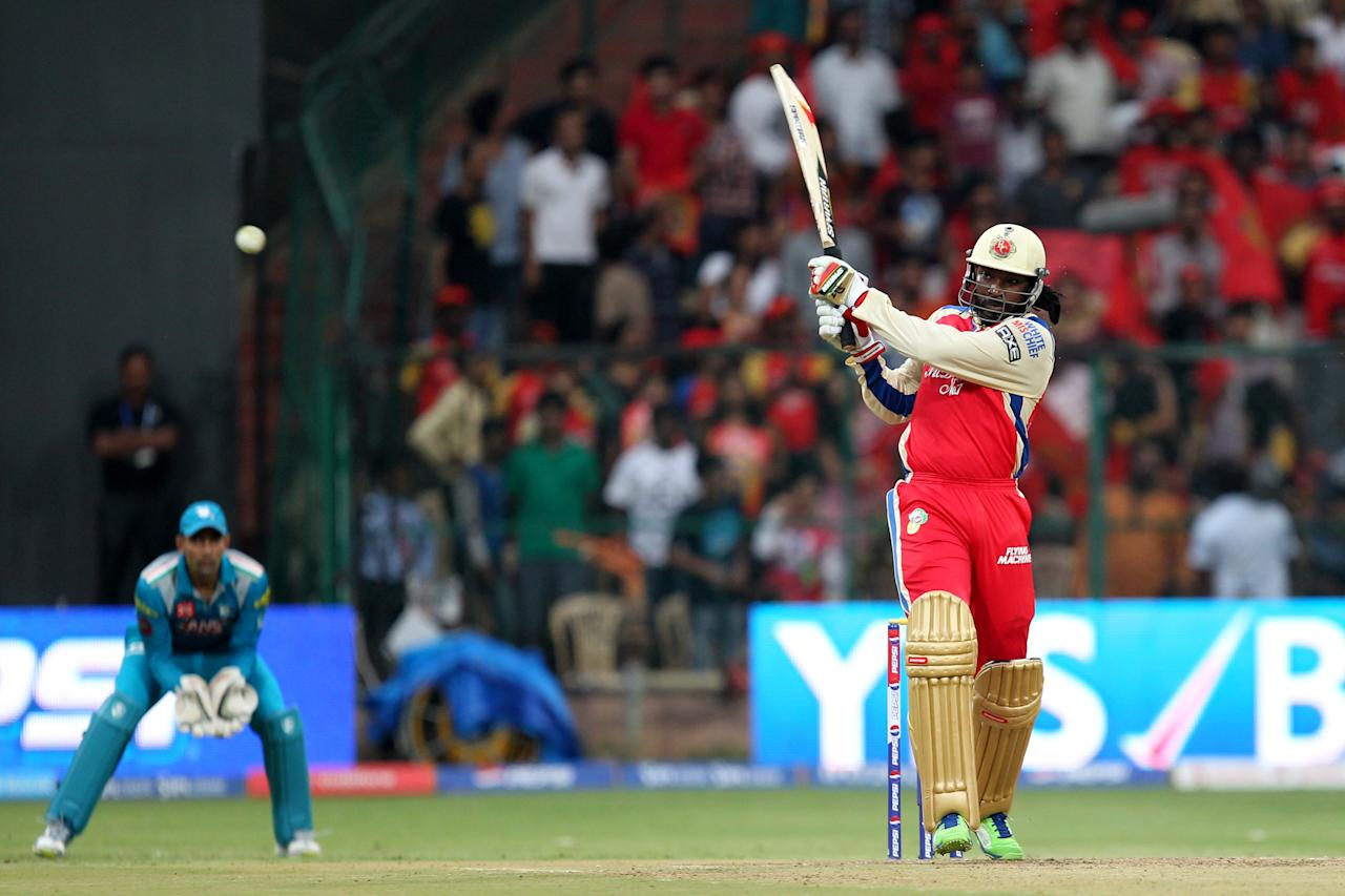 Chris Gayle during match 31 of the Pepsi Indian Premier League between The Royal Challengers Bangalore and The Pune Warriors India held at the M. Chinnaswamy Stadium, Bengaluru  on the 23rd April 2013Photo by Prashant Bhoot-IPL-SPORTZPICS  Use of this image is subject to the terms and conditions as outlined by the BCCI. These terms can be found by following this link:https://ec.yimg.com/ec?url=http%3a%2f%2fwww.sportzpics.co.za%2fimage%2fI0000SoRagM2cIEc&t=1500930224&sig=.5mK3I8oUeuwwdVejdJMFQ--~C