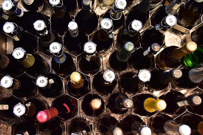 Bottles of Prosecco at the Vinitaly exposition in Verona (AFP Photo/GIUSEPPE CACACE)