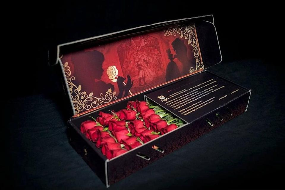 <p>Is there a better theme for a box of roses than <span><strong>Beauty and the Beast</strong></span> ($109-$199)? We think not. No word on whether one will be enchanted, though. Order one or two dozen roses in red, yellow, or checkmate.</p>