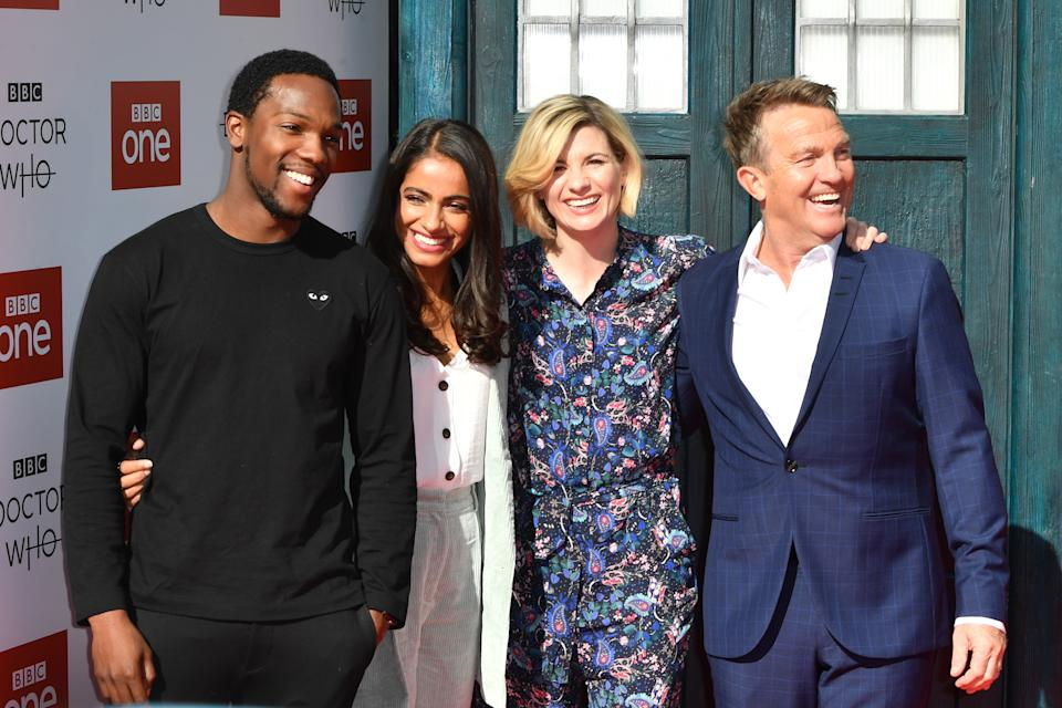 SHEFFIELD, ENGLAND - SEPTEMBER 24:  (From left) Tosin Cole, Mandip Gill, Jodie Whitaker and Bradley Walsh  arrive at the Doctor Who Premiere Screening at The Light Cinema on September 24, 2018 in Sheffield, England.  (Photo by Anthony Devlin/Getty Images)