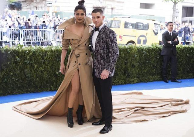 Priyanka Chopra and Nick Jonas attend the Metropolitan Museum of Art's Costume Institute benefit gala celebrating the opening of the <em>Rei Kawakubo/Comme des Garçons: Art of the In-Between</em> exhibition on Monday, May 1, 2017, in New York. (Photo: Charles Sykes/Invision/AP)