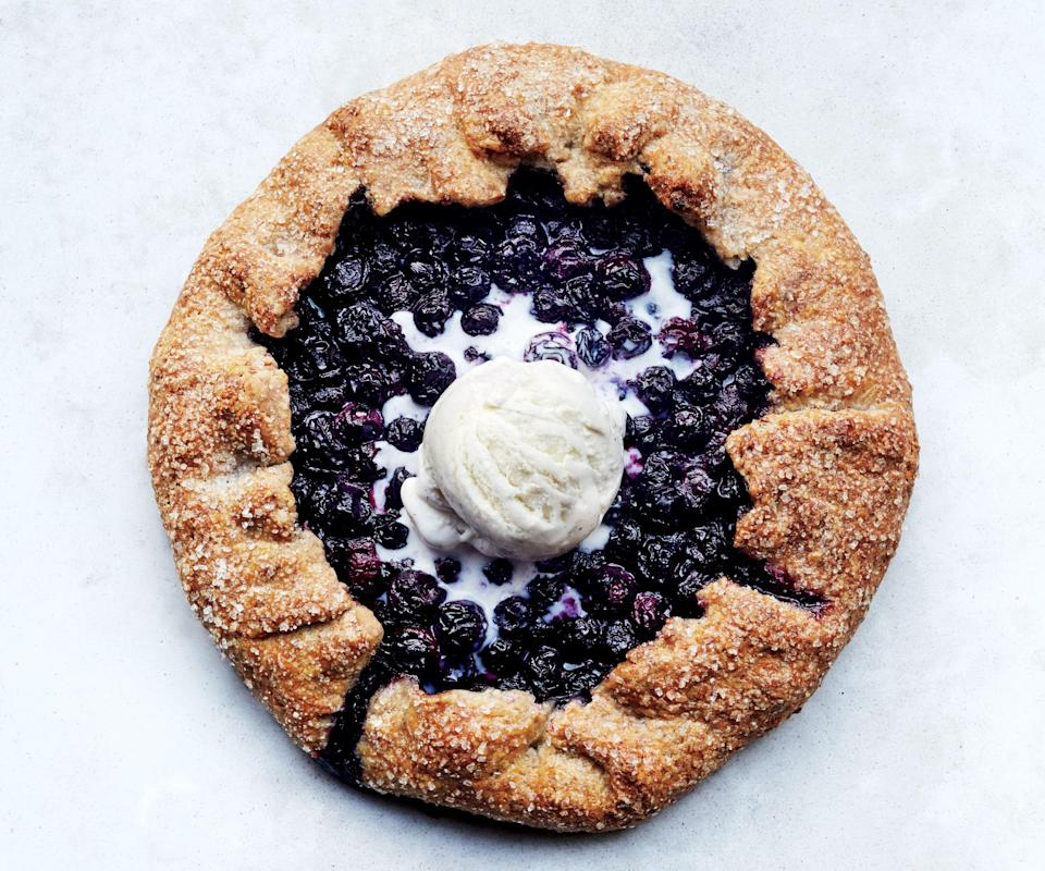 """The great thing about a galette? The more rustic (read messed up) it looks, the better. Novice bakers, this one's for you. <a href=""""https://www.bonappetit.com/recipe/blueberry-pecan-galette?mbid=synd_yahoo_rss"""" rel=""""nofollow noopener"""" target=""""_blank"""" data-ylk=""""slk:See recipe."""" class=""""link rapid-noclick-resp"""">See recipe.</a>"""