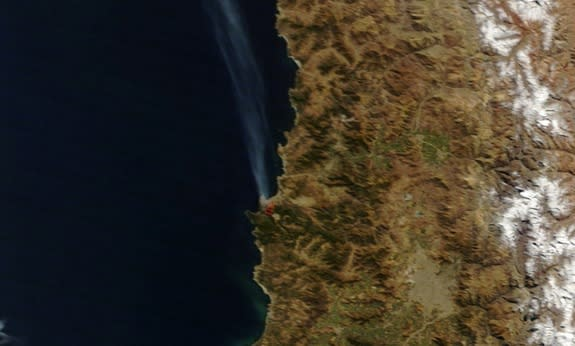 Chilean Port City Fire Seen from Space (Photo)
