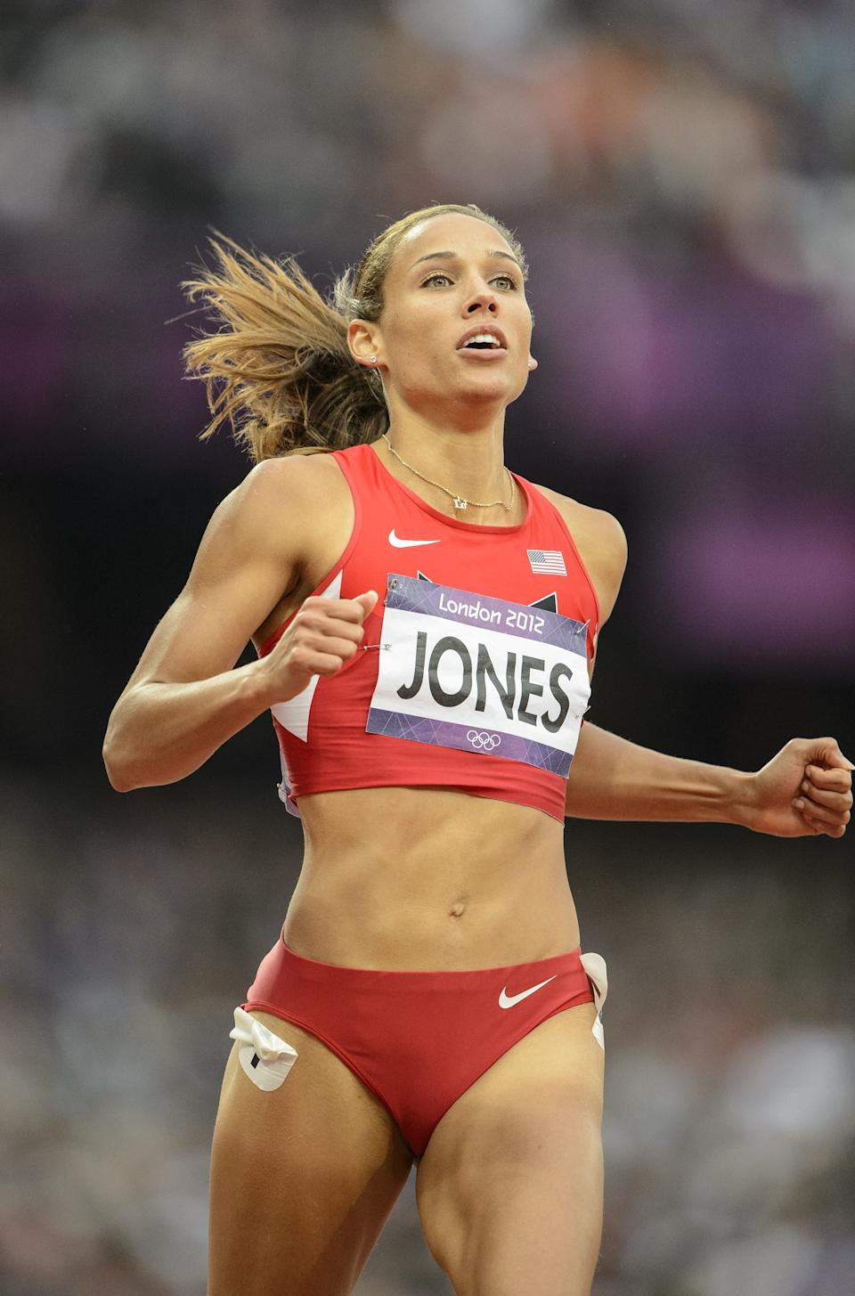 Lolo Jones (USA) Women's 100m hurdles, Athletics- Day 11: Athletics at the Olympic Stadium during the 2012 London Olympic Games. (Photo by Christopher Morris/Corbis via Getty Images)