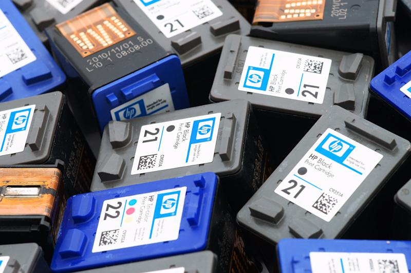 Close-up of used Hewlett-Packard ink cartridges