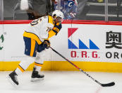 Nashville Predators defenseman P.K. Subban grabs his face after being hit during the first period in Game 6 of an NHL hockey first-round playoff series against the Colorado Avalanche, Wednesday, April 18, 2018, in Denver. (AP Photo/Jack Dempsey)