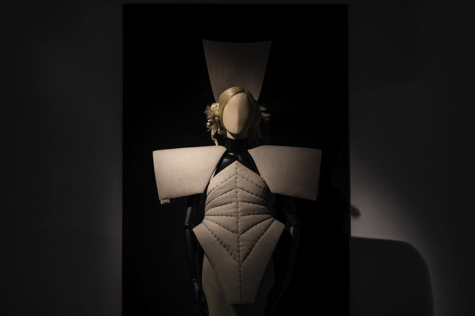 A creation by fashion designer Gareth Pugh is exhibited ahead of his London Fashion Week show in London, Wednesday, Sept. 16, 2020. (Photo by Vianney Le Caer/Invision/AP)