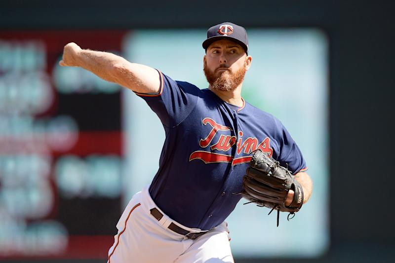 MINNEAPOLIS, MN - AUGUST 21: Sam Dyson #49 of the Minnesota Twins delivers a pitch against the Chicago White Sox during the game on August 21, 2019 at Target Field in Minneapolis, Minnesota. (Photo by Hannah Foslien/Getty Images)