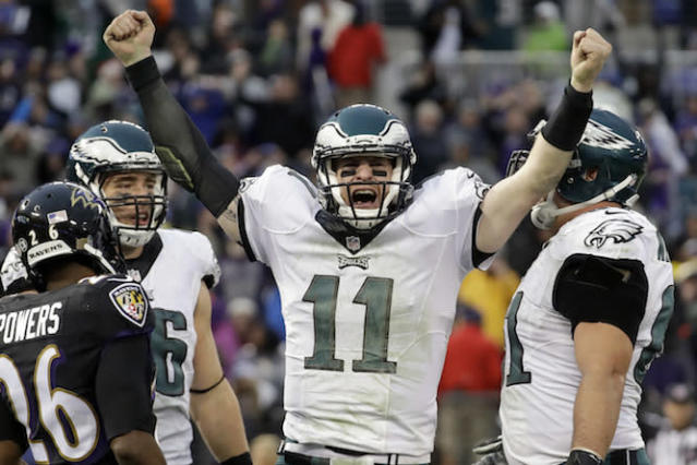 "The Eagles' bolstered offense has <a class=""link rapid-noclick-resp"" href=""/nfl/players/29236/"" data-ylk=""slk:Carson Wentz"">Carson Wentz</a> rather excited. (AP)"