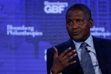 Chief Executive of Dangote Industries Limited Aliko Dangote speaks at the Bloomberg Global Business Forum in New York