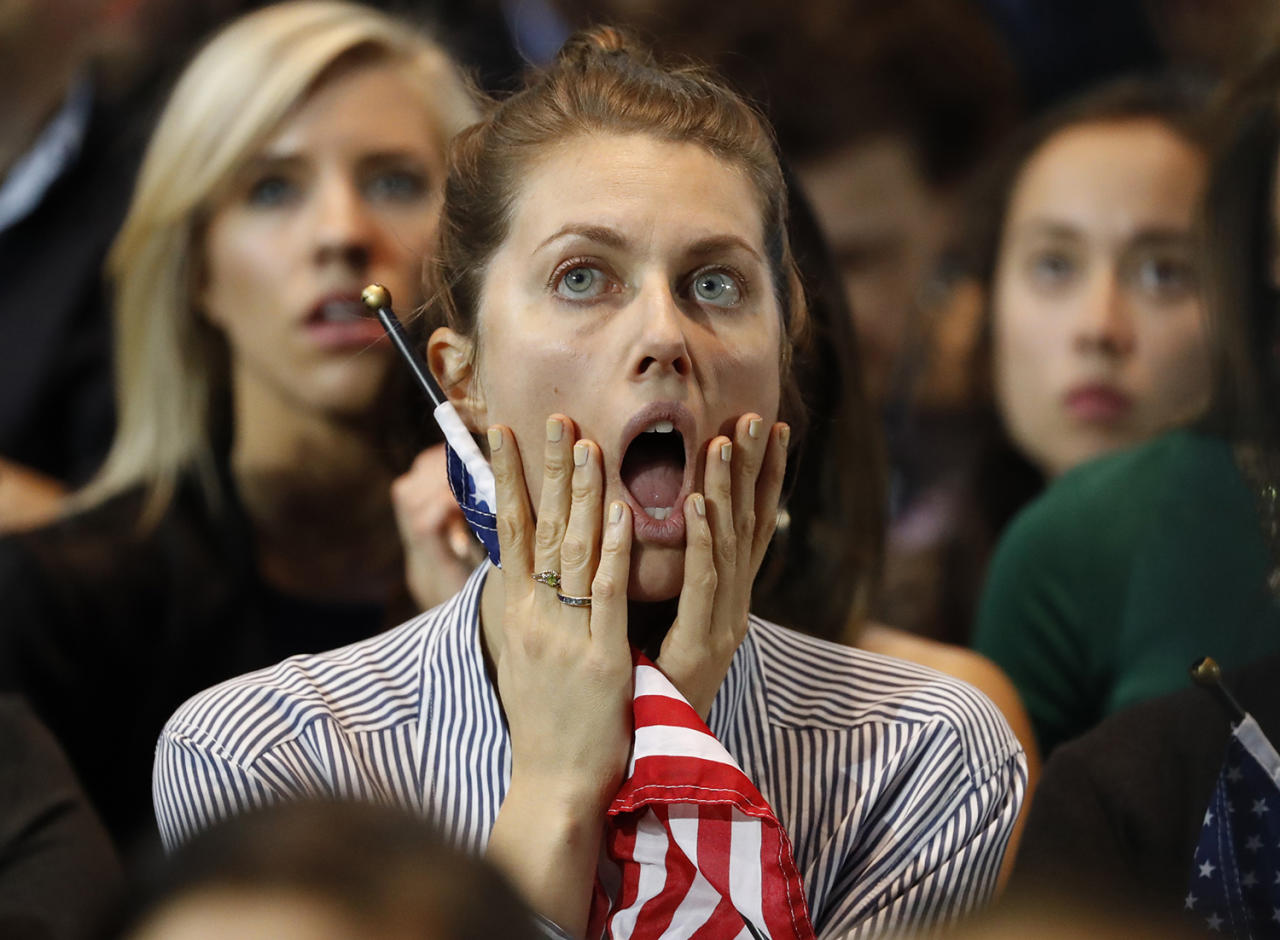 <p>Supporters of U.S. Democratic presidential nominee Hillary Clinton react at her election night rally in Manhattan, New York on November 8, 2016. (REUTERS/Lucas Jackson) </p>