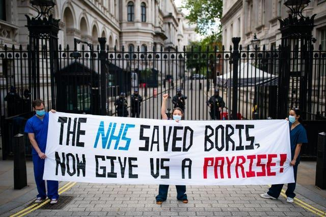 A protest outside Downing Street about the recommended NHS pay rise has been organised for Sunday