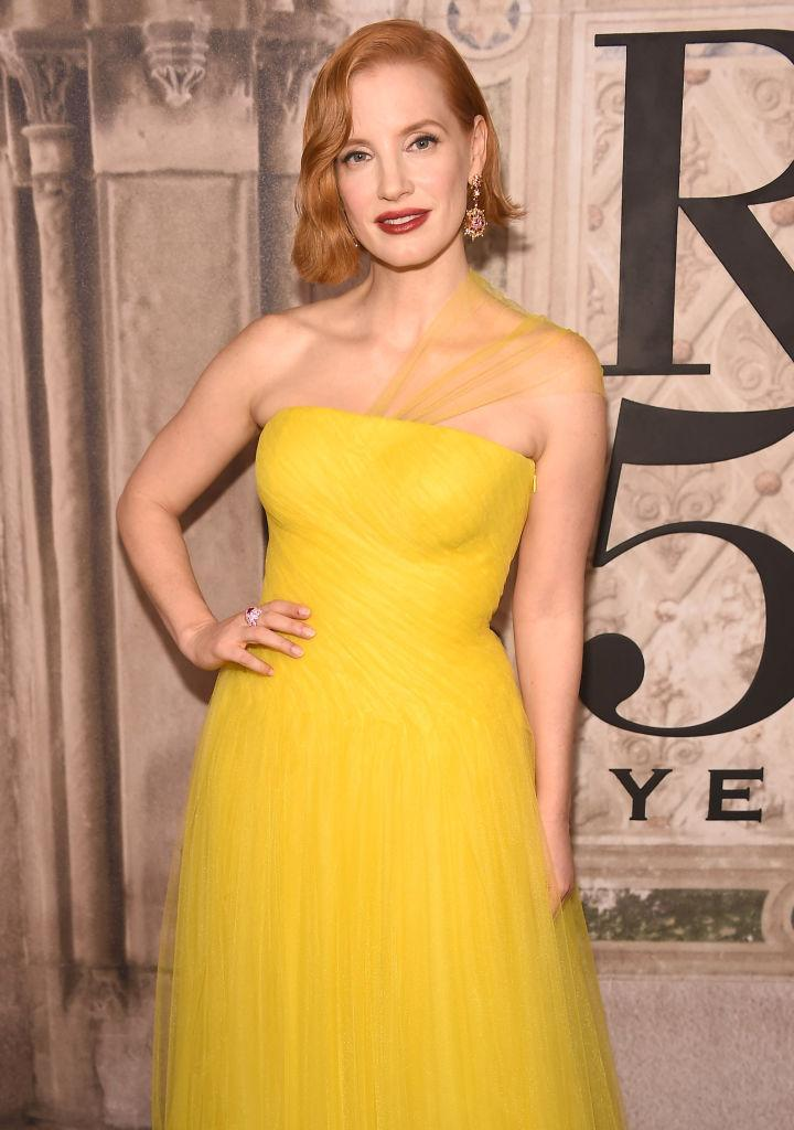 <p>Jessica Chastain attends the Ralph Lauren 50th Anniversary show during New York Fashion Week at Bethesda Terrace on September 7, 2018 in New York City. (Photo: Gary Gershoff/WireImage) </p>