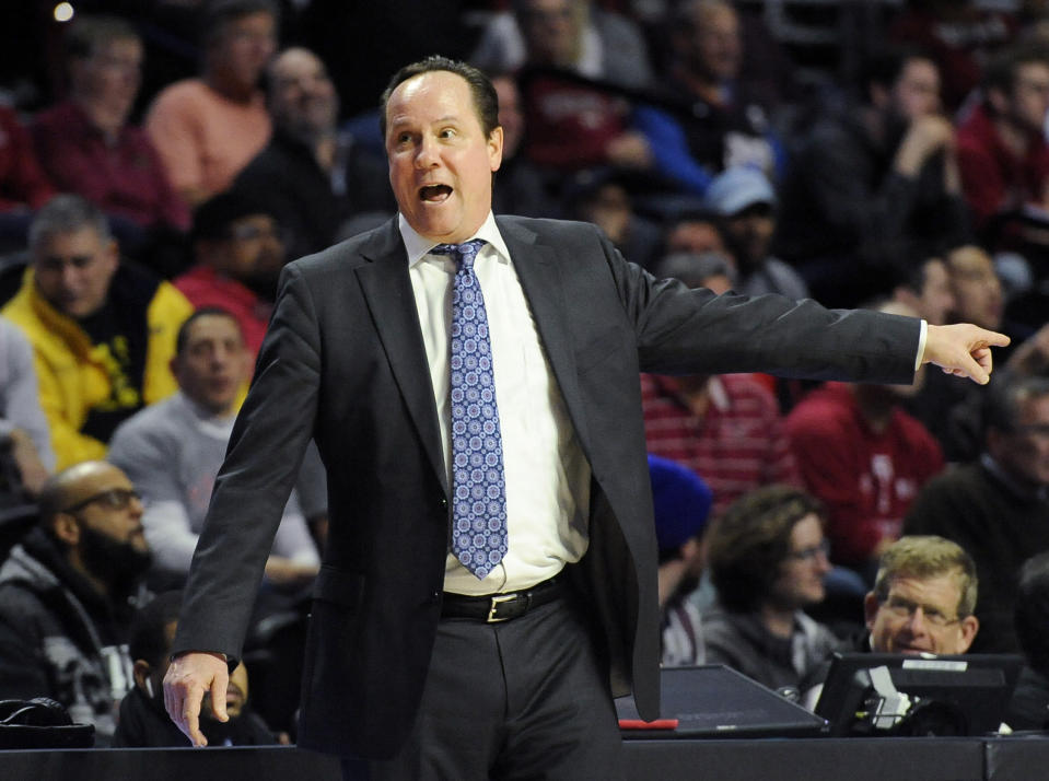 Wichita State coach Gregg Marshall reacts after a foul call during the second half of the team's NCAA college basketball game against Temple, Wednesday, Jan. 15, 2020, in Philadelphia. Temple won 65-53. (AP Photo/Michael Perez)