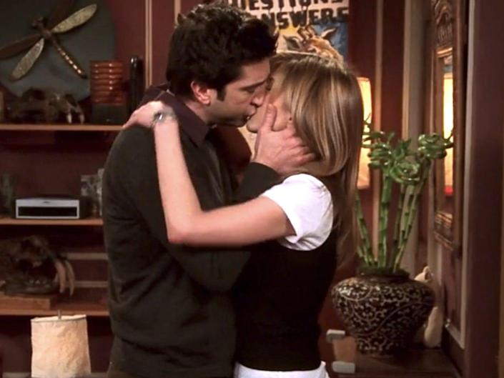 """David Schwimmer and Jennifer Aniston kissing on the series finale of """"Friends."""""""