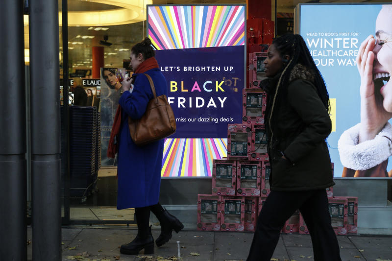LONDON, ENGLAND - NOVEMBER 20: A Boots store advertises sales ahead of the Black Friday sales on November 20, 2019 in London, England. (Photo by Hollie Adams/Getty Images)