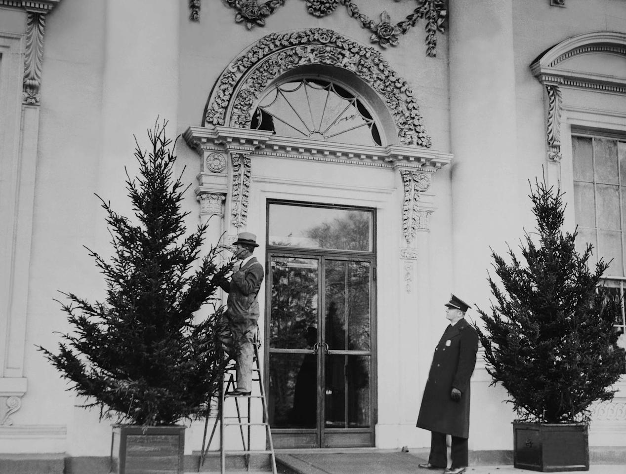 <p>Christmas decorating at the White House in December of 1935.</p>