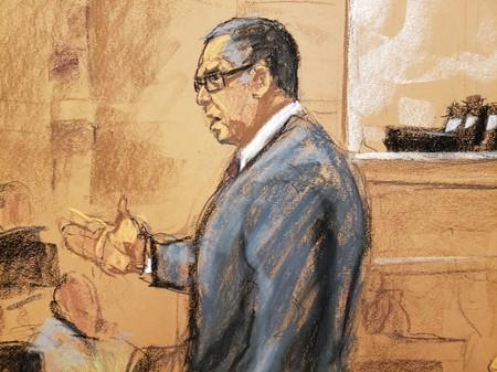 Court room sketch of defense attorney Marc Agnifolo speaks in this courtroom sketch during closing arguments in the trial of Nxivm leader Keith Raniere in U.S. Federal Court in Brooklyn