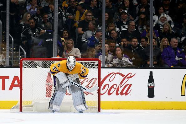 LOS ANGELES, CA - OCTOBER 14: Jeff Zatkoff #37 of the Los Angeles Kings looks on after allowing a goal during the second period of a game against Philadelphia Flyers at Staples Center on October 14, 2016 in Los Angeles, California. (Photo by Sean M. Haffey/Getty Images)