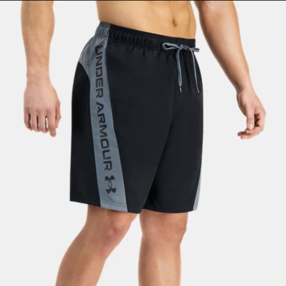 """<p><strong>$48.00</strong></p><p><a href=""""https://go.redirectingat.com?id=74968X1596630&url=https%3A%2F%2Fwww.underarmour.com%2Fen-us%2Fp%2Fswimwear%2Fmens-ua-angled-block-volley-shorts%2F5037156.html%3Fstart%3D0&sref=https%3A%2F%2Fwww.menshealth.com%2Fstyle%2Fg36560974%2Fbest-board-shorts-for-men%2F"""" rel=""""nofollow noopener"""" target=""""_blank"""" data-ylk=""""slk:BUY IT HERE"""" class=""""link rapid-noclick-resp"""">BUY IT HERE</a></p><p>A long, loose fit provides you with the ultimate range of motion for all your outdoor activities. Pro Tip: these can even double as gym shorts for your work out with their moisture-wicking properties and sleek look. </p>"""