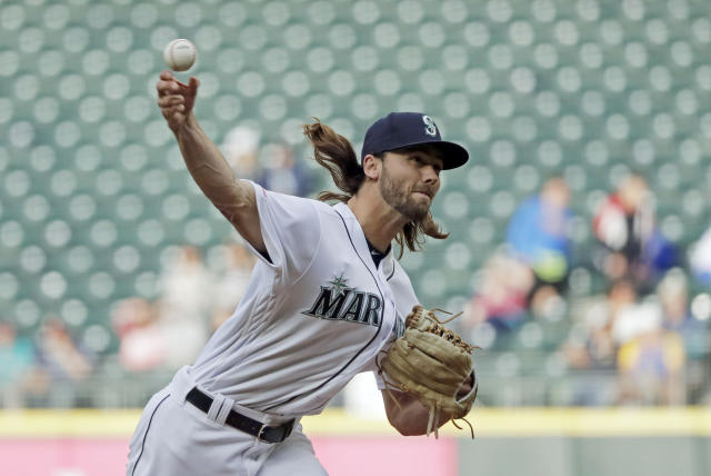 Seattle Mariners pitcher Tayler Scott throws to a Baltimore Orioles batter during the first inning of a baseball game Thursday, June 20, 2019, in Seattle. (AP Photo/Ted S. Warren)