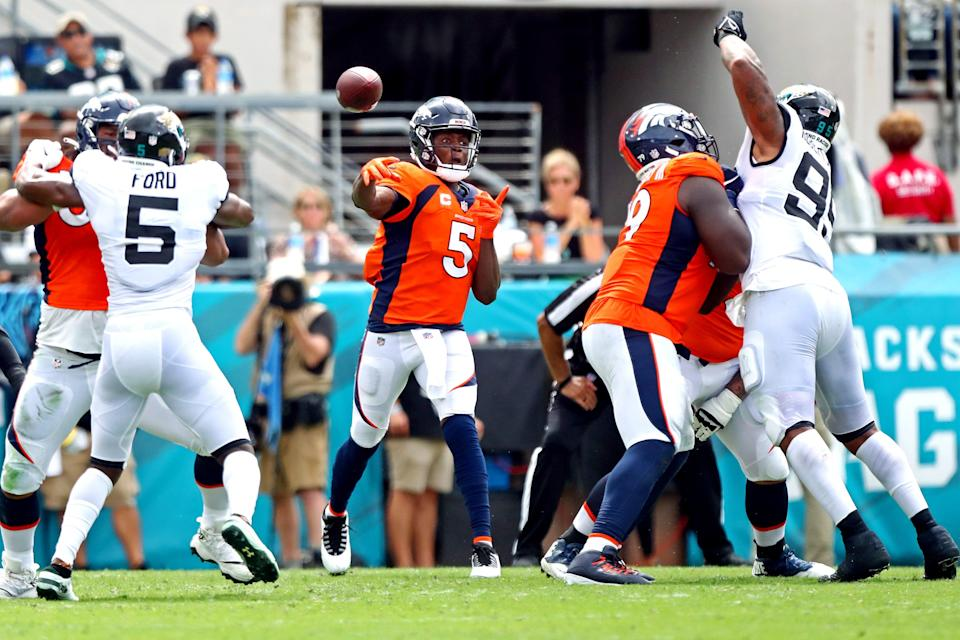 Quarterback Teddy Bridgewater has led the Broncos to a pair of season-opening wins and has yet to throw an interception.