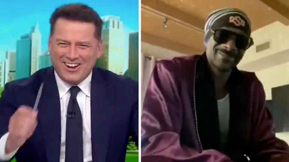 Snoop Dogg joined Karl Stefanovic for a chat on the Today show on Tuesday. Photo: Nine