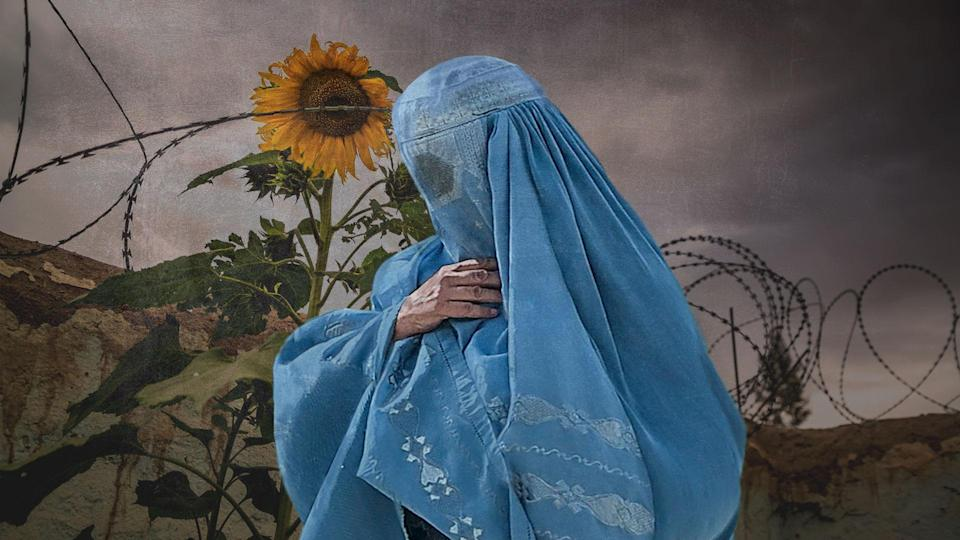 Pregnant Afghan woman. Photo collage illustration from photographs courtesy Getty Images