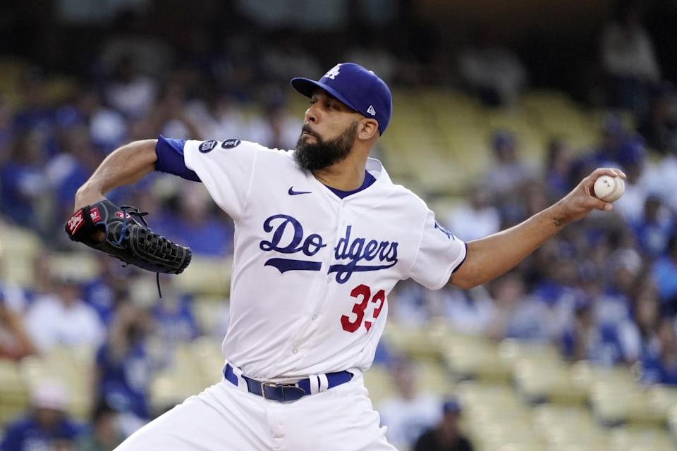 Dodgers starter David Price pitches during the first inning July 23, 2021.