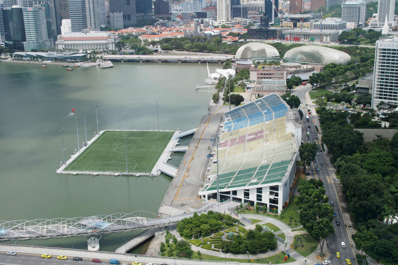 (GERMANY OUT) The Float and Seating Gallery at Marina Bay, One Fullerton Hotel, Theatres by the bay, Helix Bridge, taken from Singapore Flyer, Observation Wheel, 26.02.13 (Photo by Dagmar Scherf/ullstein bild via Getty Images)