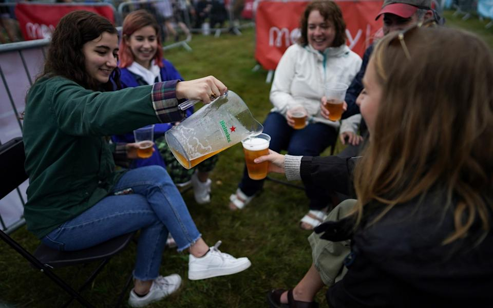Happy bubbles: fans at the Sam Fender gig - Getty