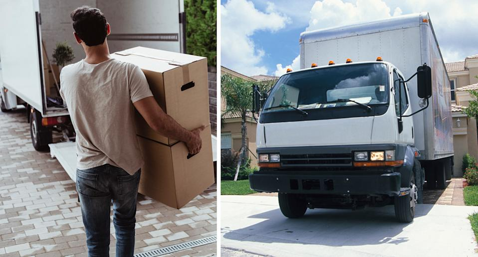 A man carries moving boxes (left) and a moving truck in a driveway (right).