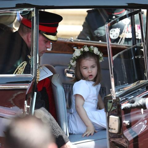 Princess Charlotte and the Duke of Cambridge leave St George's Chapel in Windsor Castle - Credit: Jane Barlow/PA
