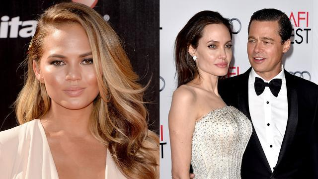 Chrissy Teigen Reacts to Brad Pitt and Angelina Jolie Split: 'How Am I Supposed to Go to Work Today?'