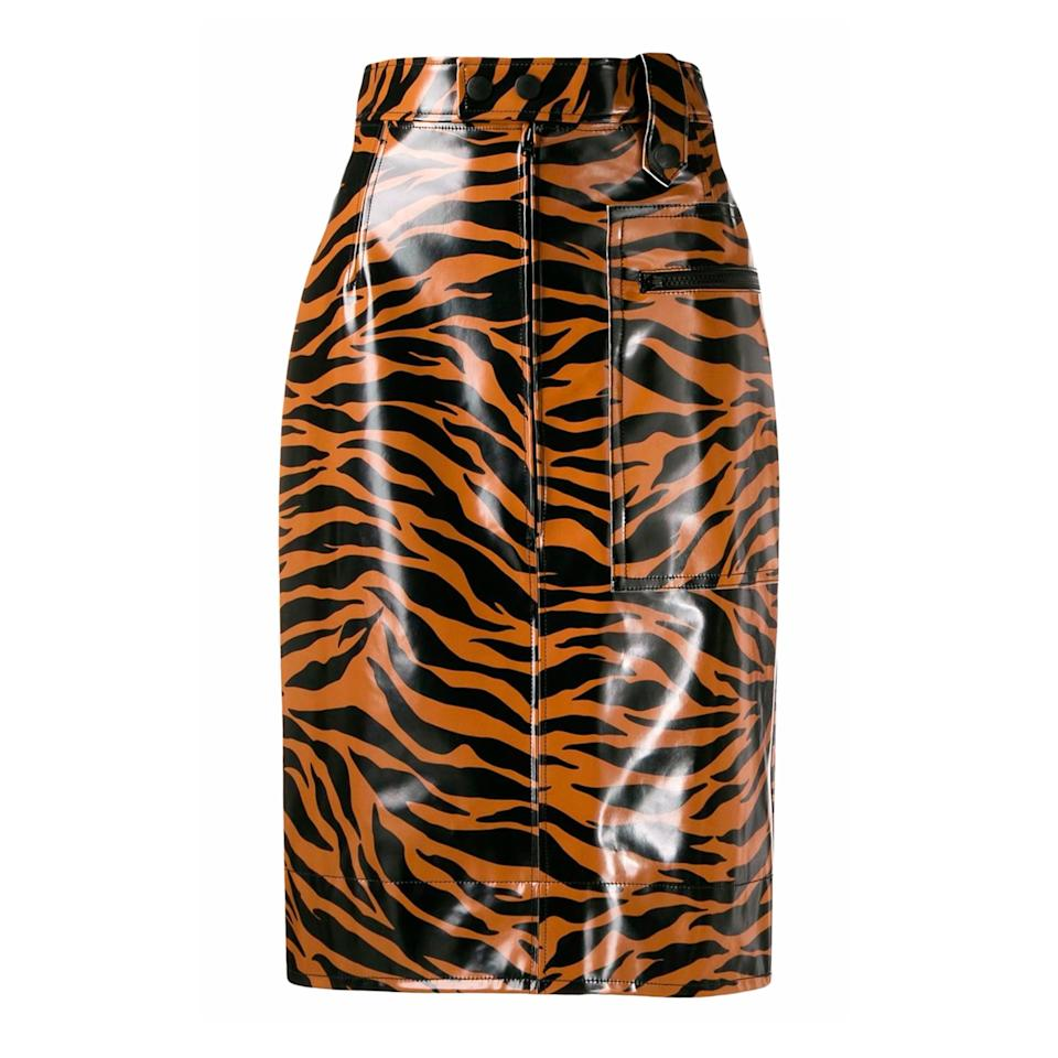 """<p>From design duo Léa Dickley and Hung La comes the already cult classic brand, Kwaidan Editions. Their tiger print, high waisted skirt is both flattering and fashion forward.</p> <p><strong>Buy now:</strong> Kwaidan Editions skirt, $580, <a href=""""https://www.farfetch.com/shopping/women/kwaidan-editions-tiger-print-high-waisted-skirt-item-14493510.aspx?storeid=10122"""">farfetch.com</a>.</p>"""