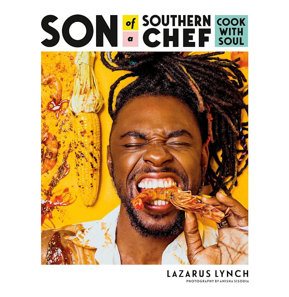 """<p><strong>By Lazarus Lynch</strong></p><p>bookshop.org</p><p><strong>$22.50</strong></p><p><a href=""""https://bookshop.org/books/son-of-a-southern-chef-cook-with-soul/9780525534174"""" rel=""""nofollow noopener"""" target=""""_blank"""" data-ylk=""""slk:Buy"""" class=""""link rapid-noclick-resp"""">Buy</a></p><p>Need a lift right now? You'd have a hard time finding a more life-affirming book than <em>Son of a Southern Chef</em>. Joy, humor, and bright color radiate from every page. Lynch conjures a mashup of Caribbean and Southern cuisine and delivers a guide to living well through Guyanese cheese rolls, cornflake-crusted fried green tomatoes with chipotle ranch, berbere-spiced eggplant, """"Asparagus Got a Crush on Potato,"""" and """"OH-MY-GAH Green Beans with Crushed Peanuts."""" Dig in and rise up.<em> —J.G. </em></p>"""