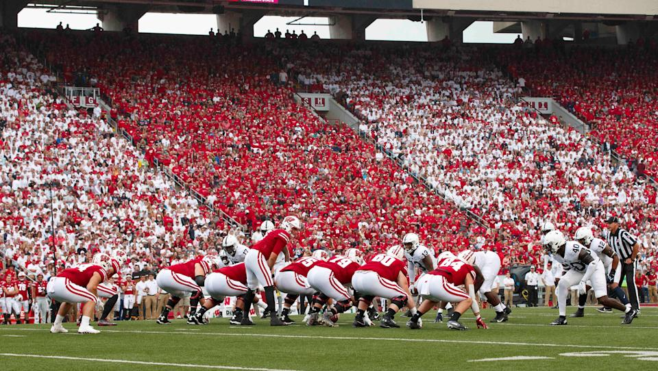 The Wisconsin Badgers line up for a play during the first quarter against the Penn State Nittany Lions at Camp Randall Stadium on Saturday, Sept. 4, 2021.