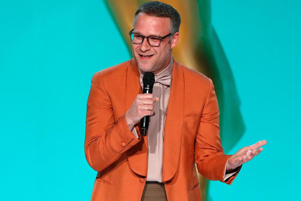 """<p><strong>""""That's like when I was listening to music with my mom and she knew all the words to 'WAP.' It took me by surprise!"""" </strong></p> <p>— Seth Rogen reacting to <a href=""""https://people.com/tv/2021-emmy-awards-cedric-the-entertainer-opening-monologue/"""" rel=""""nofollow noopener"""" target=""""_blank"""" data-ylk=""""slk:the night's rapped musical intro"""" class=""""link rapid-noclick-resp"""">the night's rapped musical intro</a>, while presenting the award for outstanding supporting actress in a comedy series </p>"""