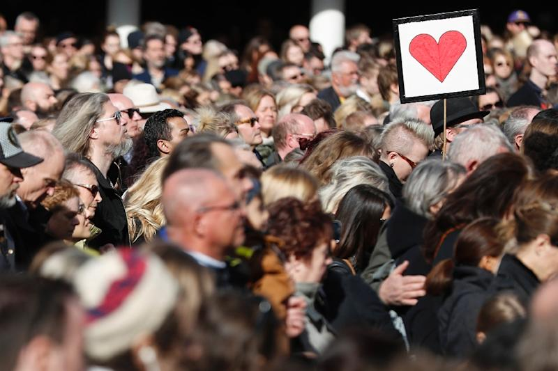 Stockholm officials said more than 20,000 people joined the vigil to commemorate Friday's attack