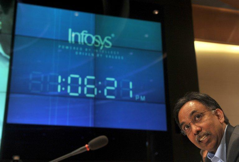 S.D. Shibulal, CEO of Infosys, addresses the media after announcing company results in Bangalore on October 12, 2011